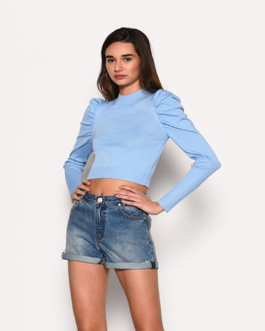 Sleeve Detail Top Light Blue