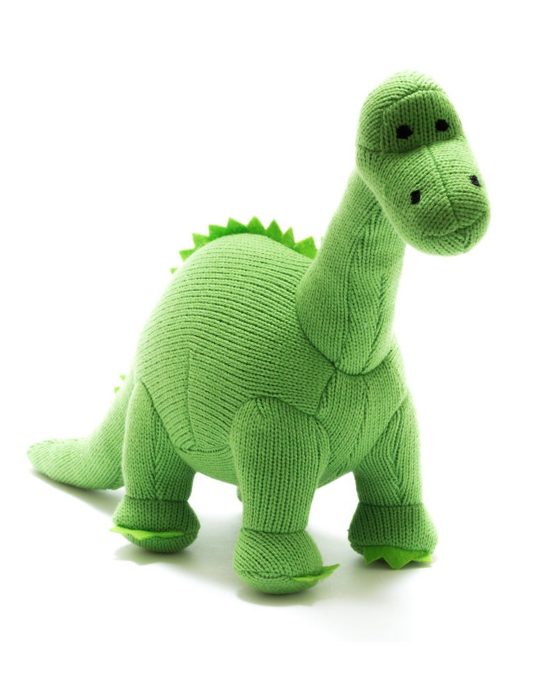 Nessie The Green Diplodocus Dinosaur Knitted Rattle