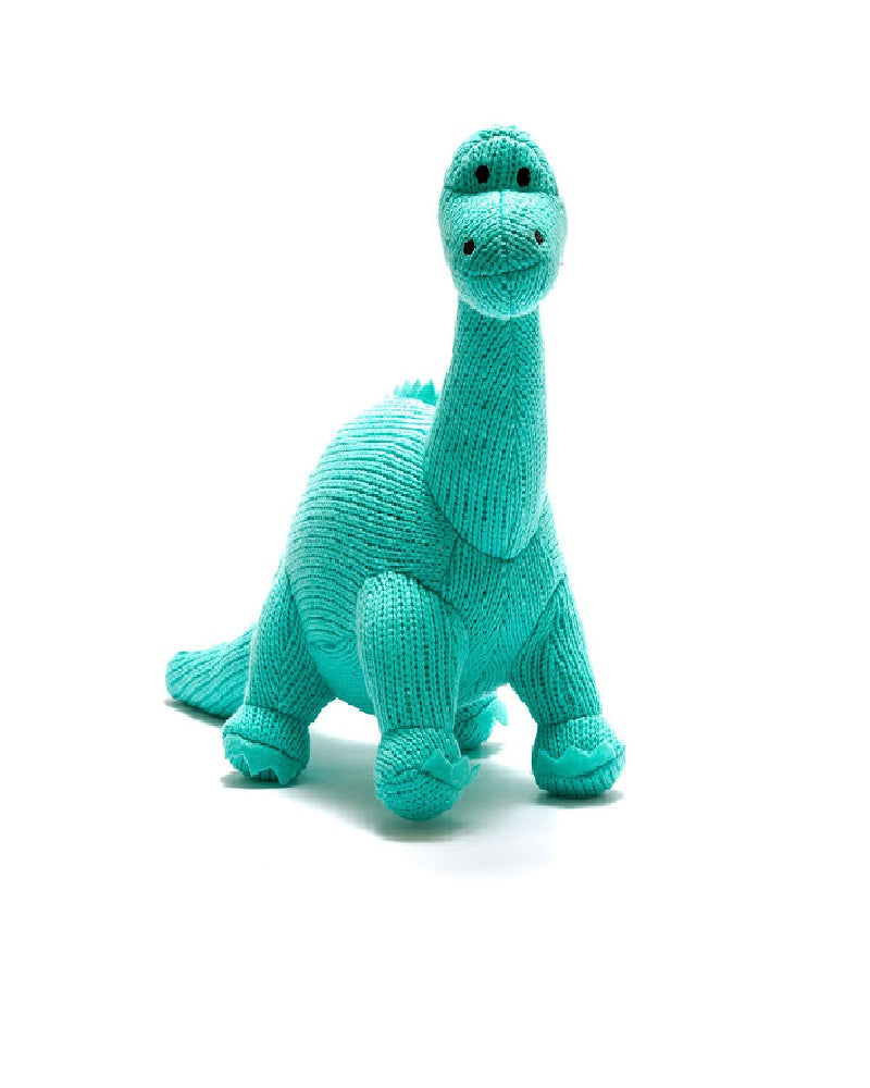 Turquoise Diplodocus Dinosaur Knitted Toy