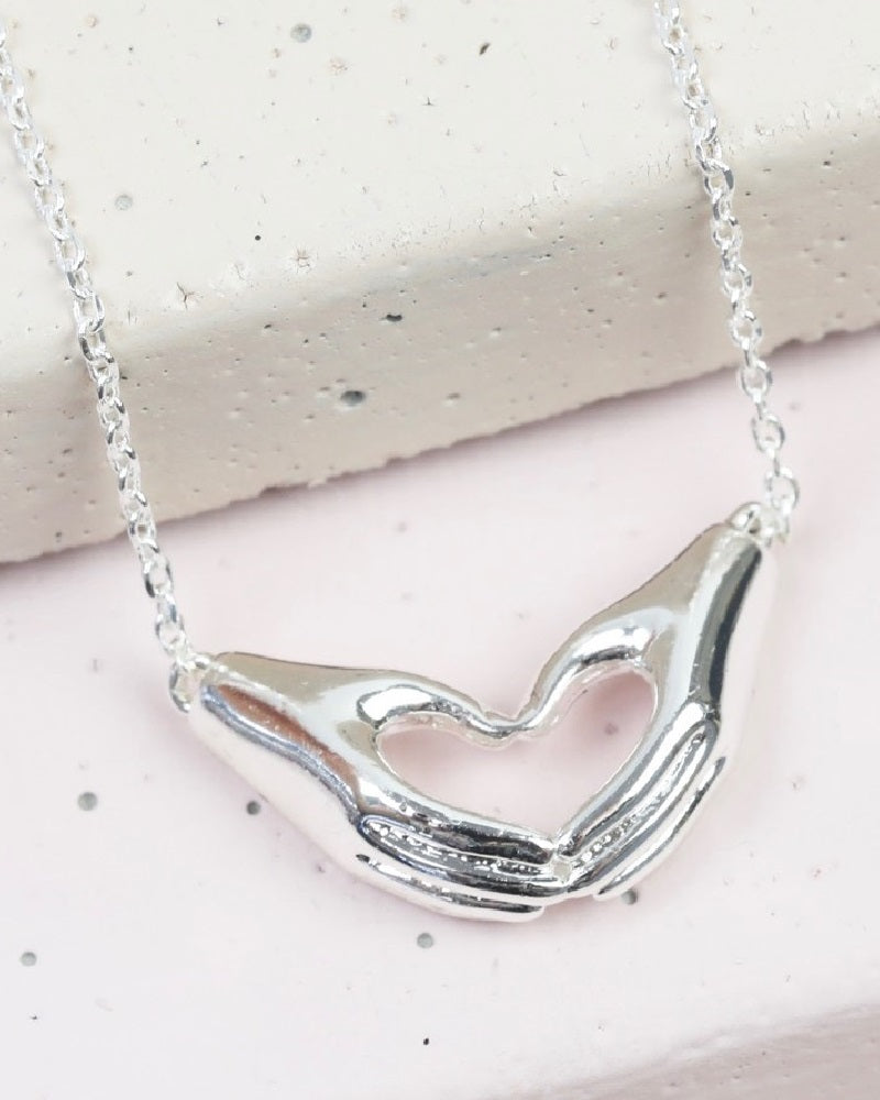 Heart Shaped Hands Necklace