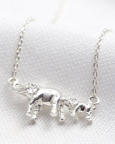 Mummy And Baby Elephant Necklace Silver