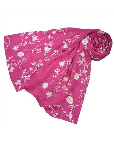 Spring Pink Embroidered Scarf