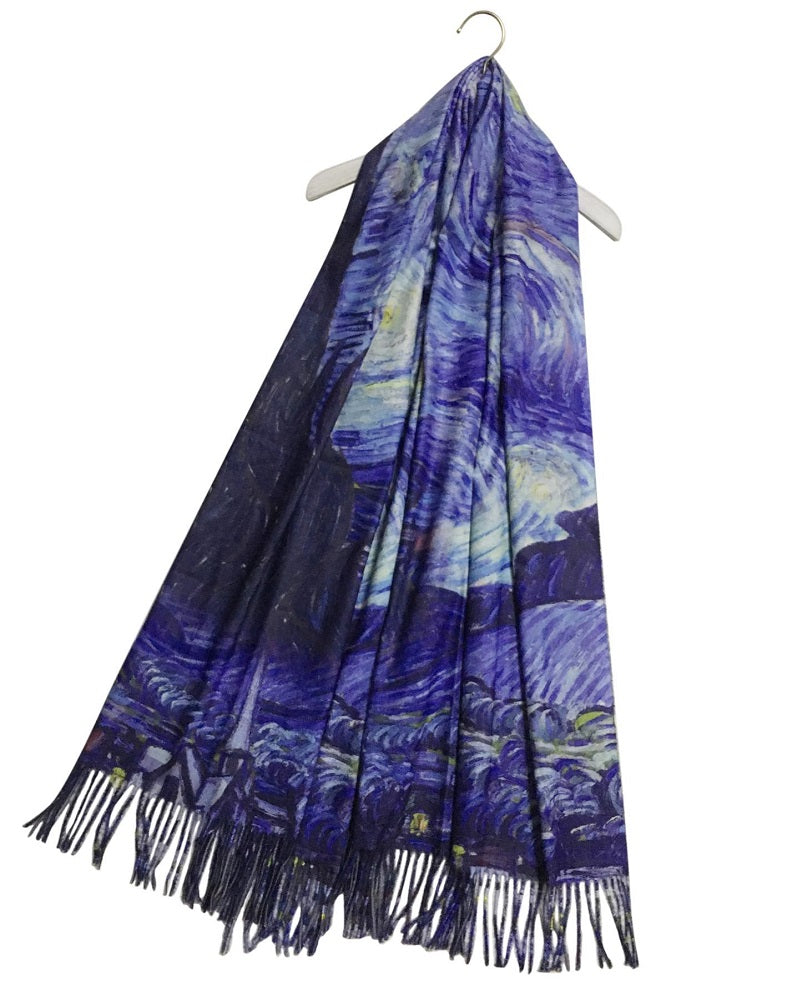 Van Gogh Starry Night Wool Pashmina Scarf