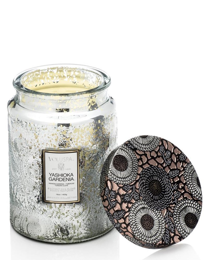 Yashioka Gardenia Large Metallic Glass Candle