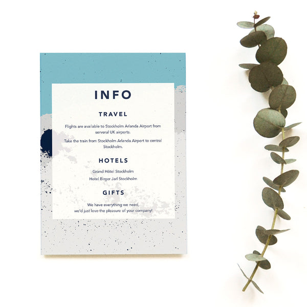 Personalised Wedding Information Card | Scandi