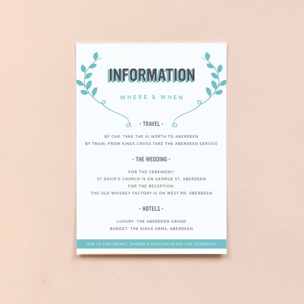 Personalised Wedding Information Card | Bourbon