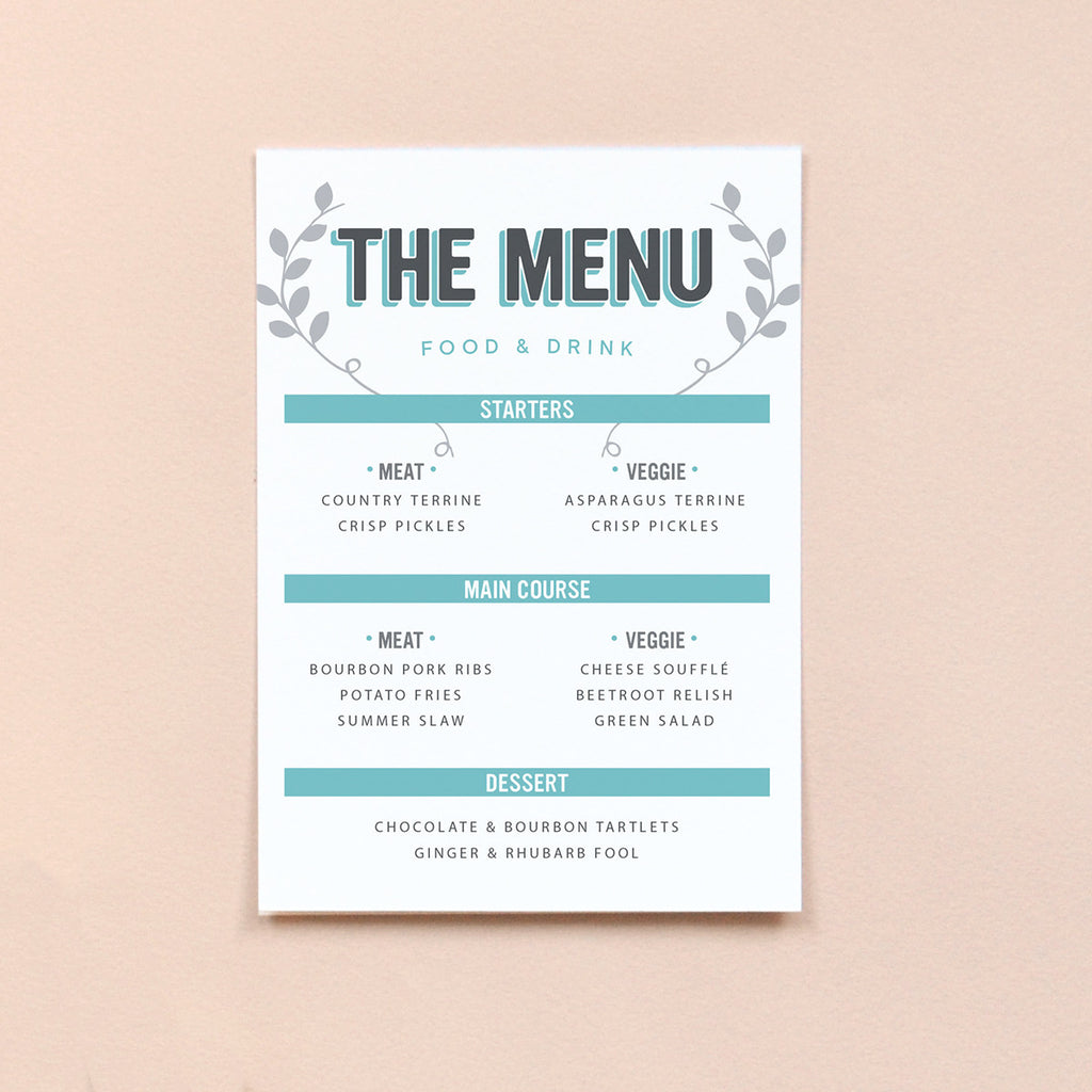 Personalised Wedding Menu | Bourbon