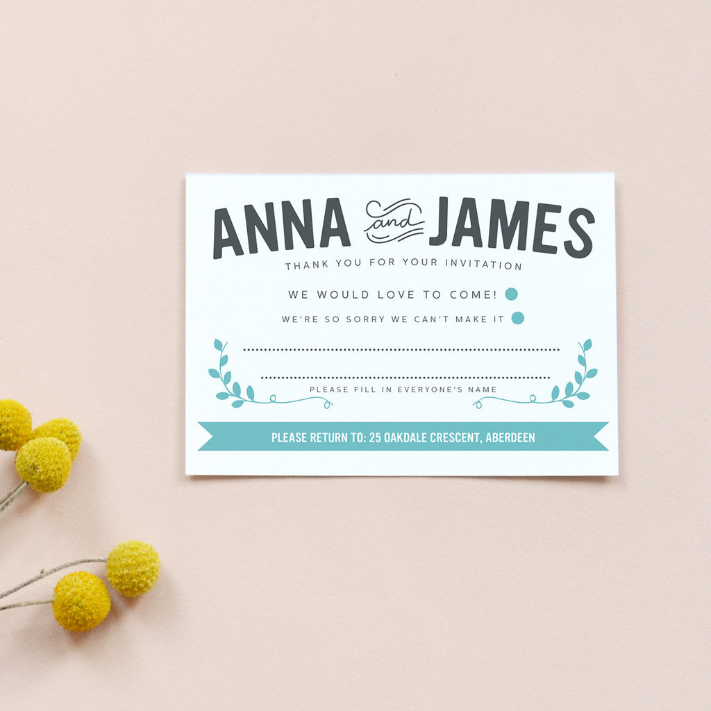 Personalised Wedding RSVP Card | Bourbon