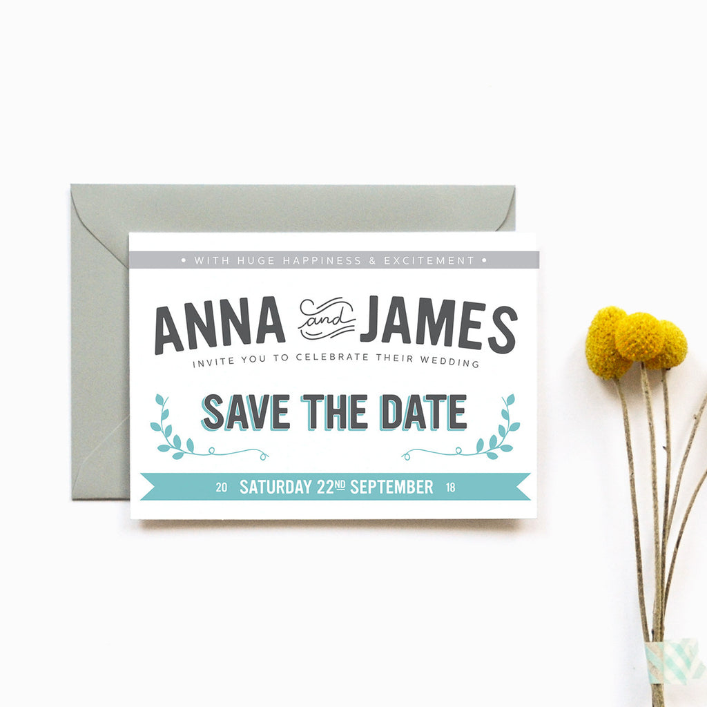 Personalised Wedding Save the Date Card | Bourbon