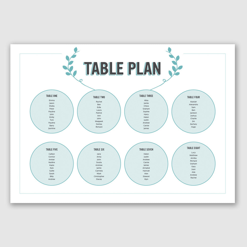 Personalised Wedding Table Plan | Bourbon