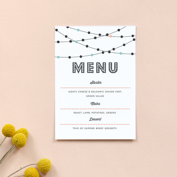 Personalised Wedding Menu Card | Festoon