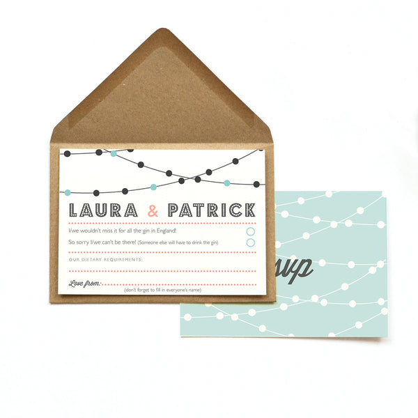Personalised Wedding RSVP Card | Festoon