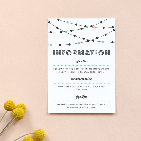 Personalised Wedding Information Card | Festoon