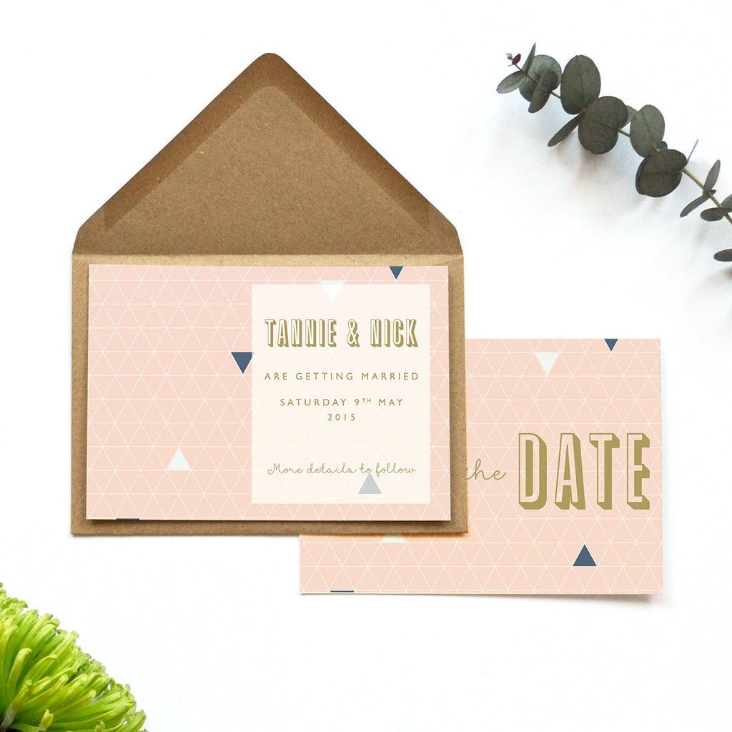 Personalised Wedding Save the Date Card | Geometry