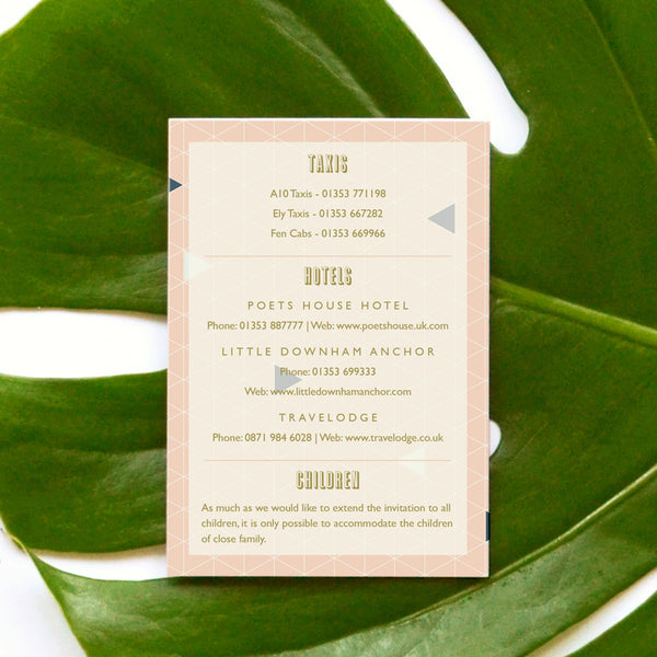 Personalised Wedding Information Card | Geometry