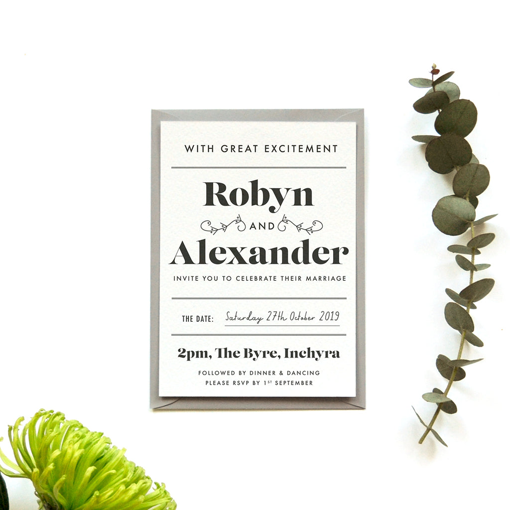 Modern Personalised Wedding Invitations | Gin Collection