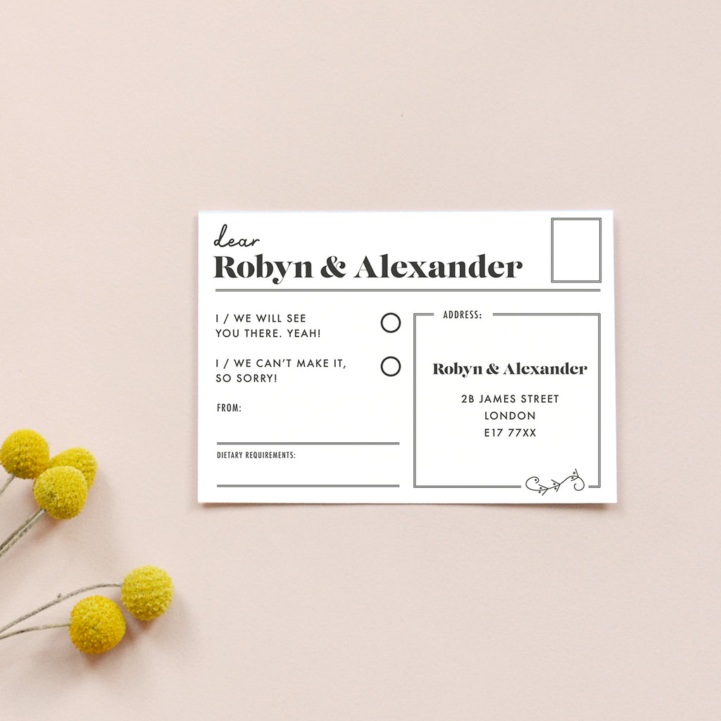Personalised Wedding RSVP Card | Gin