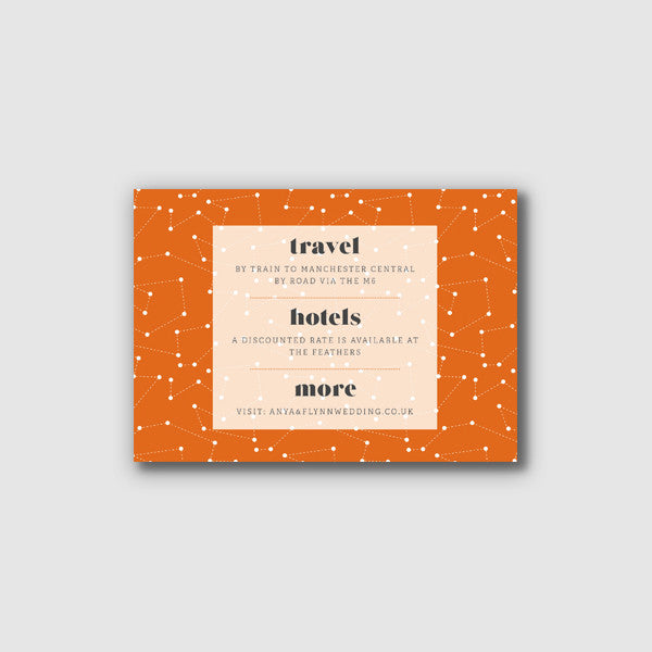 Personalised Wedding Information Card | Space