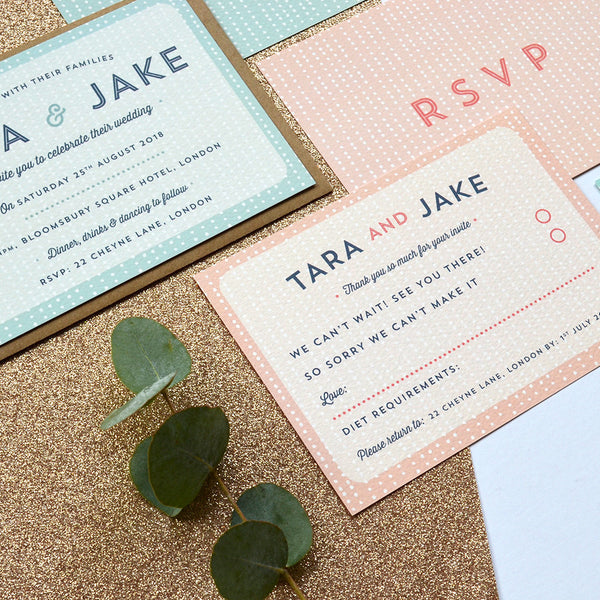 Modern Wedding Invitation | Sequin Personalised wedding stationery