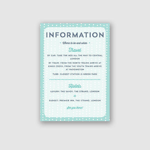 Personalised Wedding Information Card | Sequin