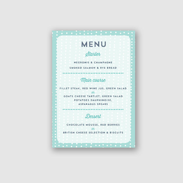 Personalised Wedding Menu | Sequin