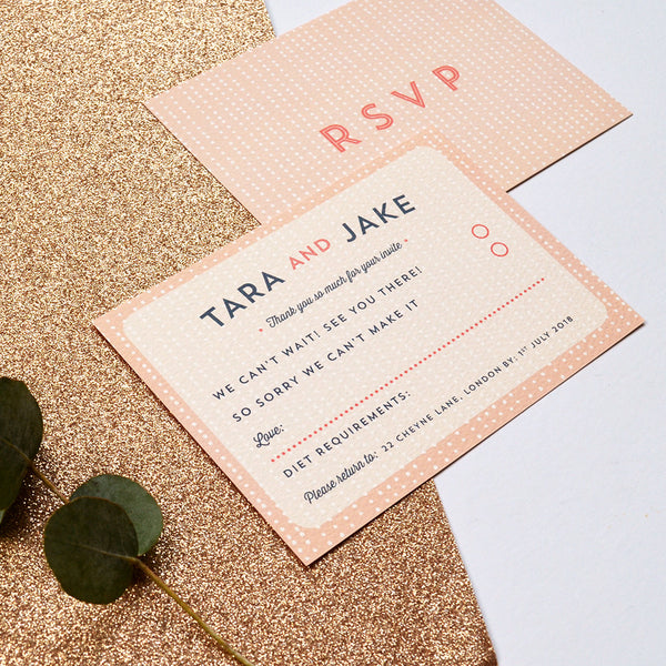 Romantic RSVP Card | Sequin Wedding Stationery Collection