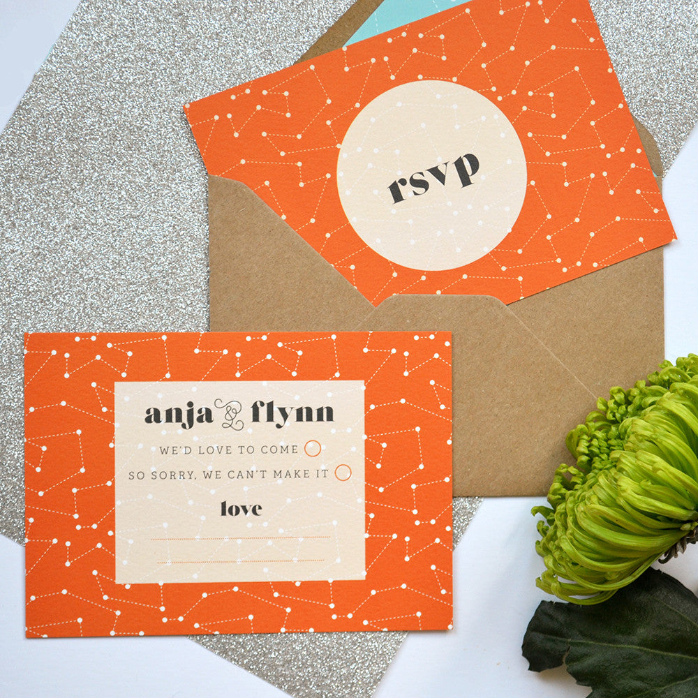 Personalised Small RSVP Card + envelope | Space