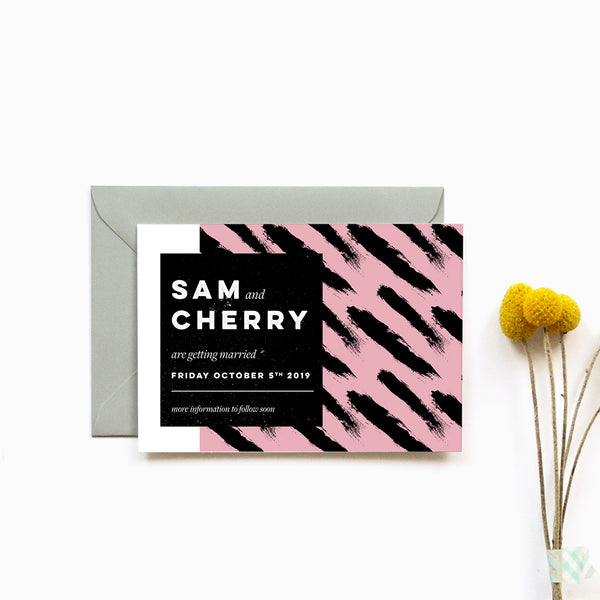 Modern personalised Wedding save the date card | Tribe