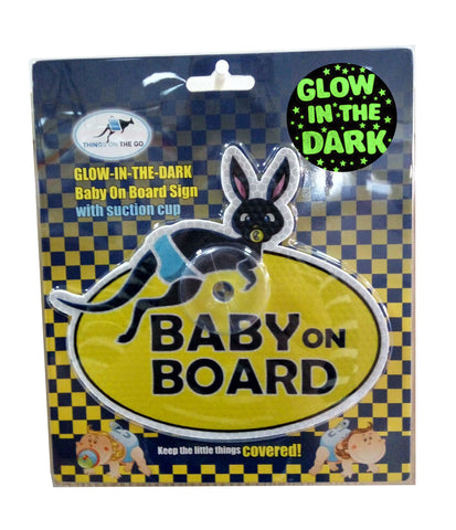 "Glow-in-the-dark UV Reflecting ""Baby on board"" Car Sign with Suction Cup"