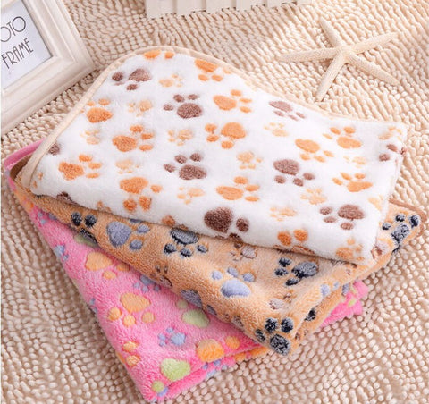 Cute Floral Paw Print Pet Blanket