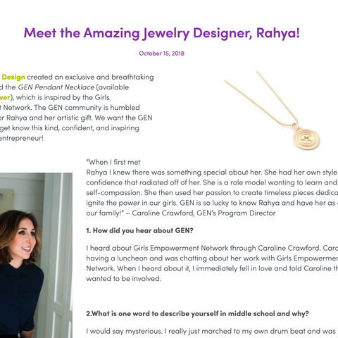RAHYA JEWELRY DESIGN GIRLS EMPOWERMENT NETWORK INTERVIEW