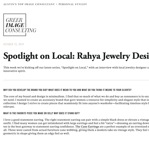 RAHYA JEWELRY DESIGN GREER IMAGE CONSULTING INTERVIEW
