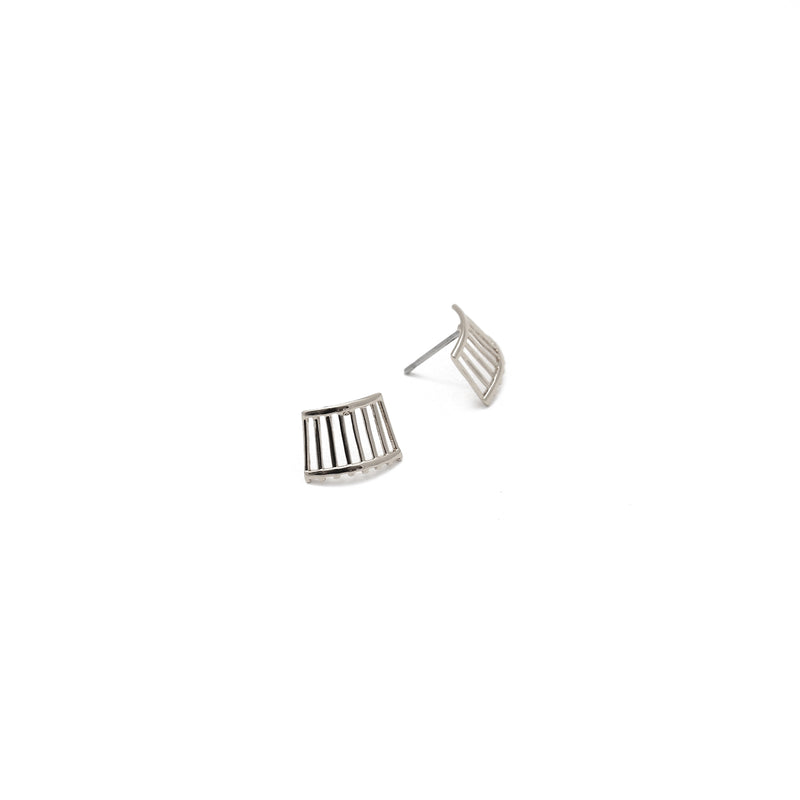 Ellie Woven Stud Earrings in Silver
