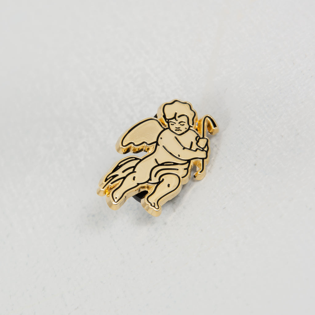 Cherub gold pin badge