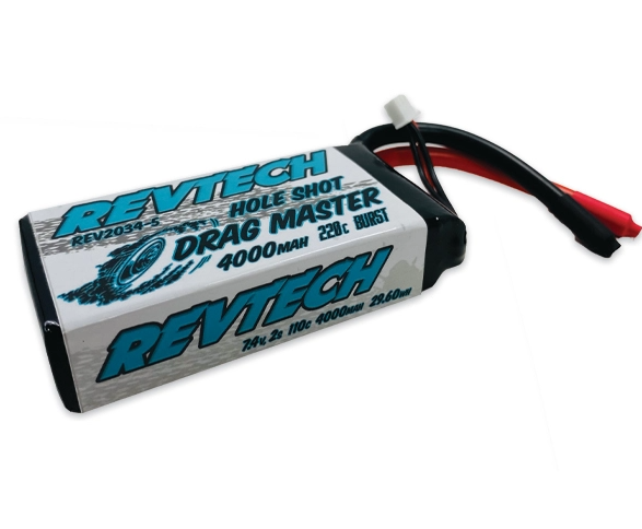 REV2034-5 7.4V 2S 4000MAH DRAG RACE PACK W/O CONNECTOR