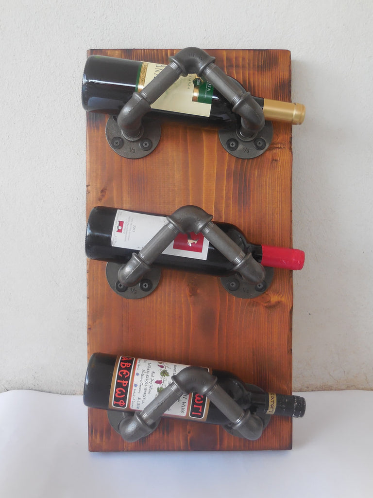 wine rack made of pipe & wood