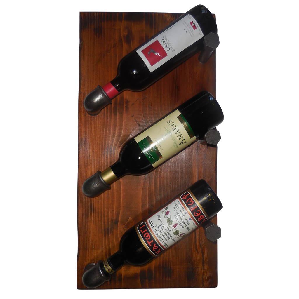industrial 3-bottle wine rack
