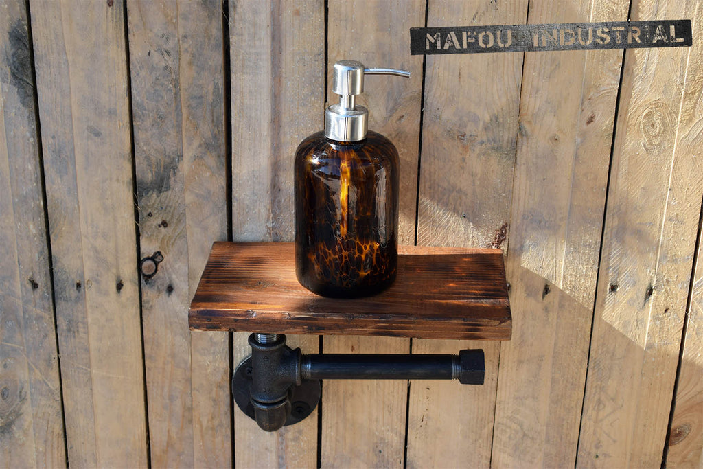 wood & pipe toilet paper holder with shelf