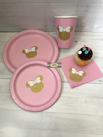 1ST Birthday Party Pack Minnie Mouse Pink \u0026 Gold Glitter Plates Cups \u0026 Napkins & TUTU GLITTER CAKE TOPPERS \u0026 PAPER PLATE PARTY PACKS \u2013 Posh ...