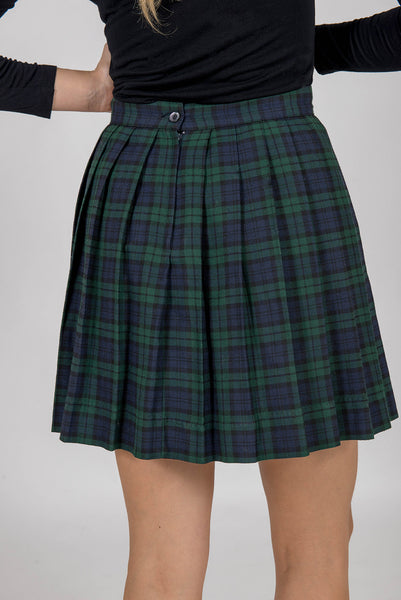 Pleated Blue & green plaid short skirt