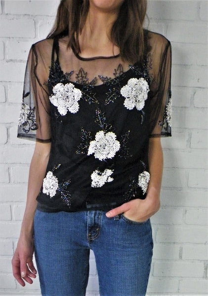 Sequin Embroidered Mesh Top