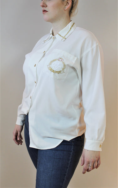 Gold embroidered white button down shirt