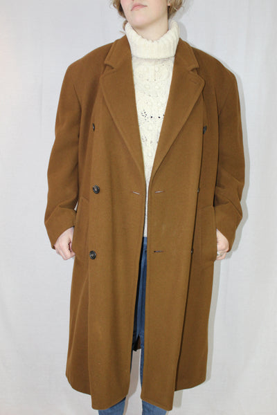Vintage belted brown wool coat