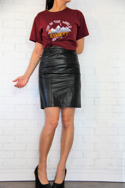 Vintage leather pencil short skirt