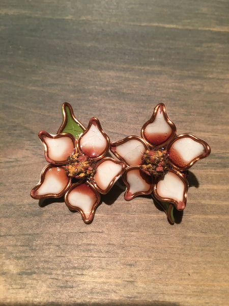 Vintage Flower Enamel Earrings