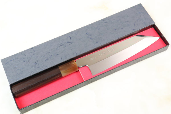 Fu-Rin-Ka-Zan Limited,  Solid VG-10 Bunka 180mm (7 inch,  Perfectly Mirror Polished, Octagon Shaped Ebonywood Handle, FSO-55) - JapaneseChefsKnife.Com