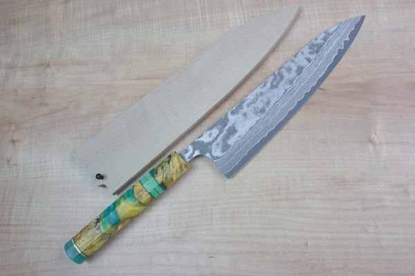 Custom Limited Edition, Fu-Rin-Ka-Zan R-2 Damascus Wa Series Wa Gyuto 240mm (9.4 Inch, FCL-27) - JapaneseChefsKnife.Com