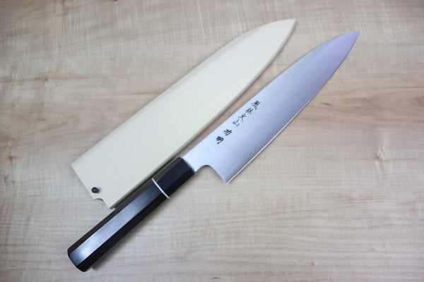 Fu-Rin-Ka-Zan R-2 Clad Wa Series Wa Gyuto (210 to 240mm 2 sizes,Octagon Shaped Ebonywood Handle with White Spacer) - JapaneseChefsKnife.Com