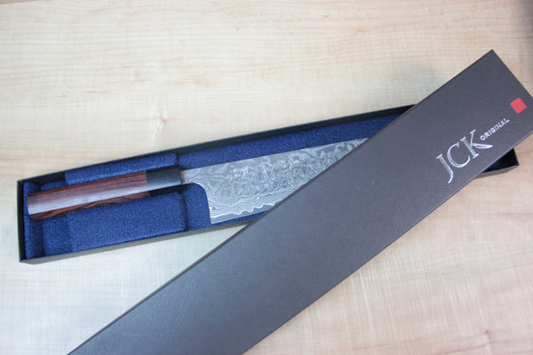 Fu-Rin-Ka-Zan R-2 Vortex Damascus Wa Series Wa Santoku 165mm FR-3 (6.4 inch, Octagon Shaped Red-Sandalwood Handle) - JapaneseChefsKnife.Com