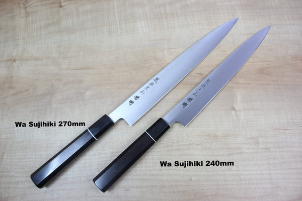 Fu-Rin-Ka-Zan R-2 Clad Wa Series Wa Sujihiki (240mm and 270mm, 2 sizes,Octagon Shaped Ebonywood Handle with White Spacer) - JapaneseChefsKnife.Com